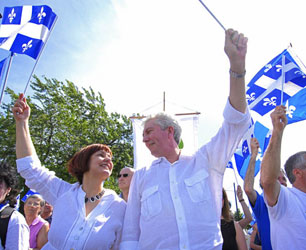 BQ leader Gilles Duceppe at St. Jean Baptiste parade on Rue Sherbrooke, Montréal, Sunday, June 24, 2007.