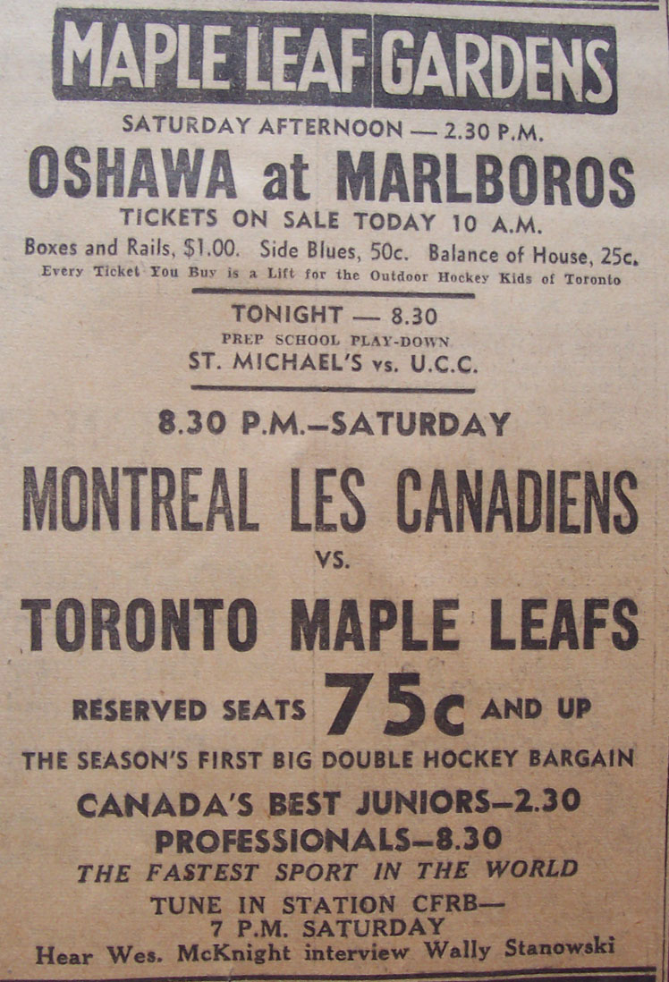 Maple Leaf Gardens ad in Toronto newspapers, 1940s