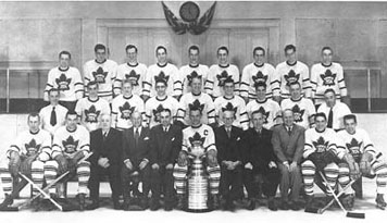 Stanley Cup champions 1951: Teeder, now Leaf captain, is in front row centre, with the cup.