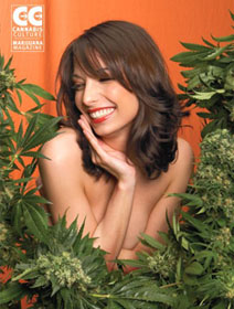 Jodie Emery as centerfold in husband Marc's Cannabis Culture magazine, August/September 2005.