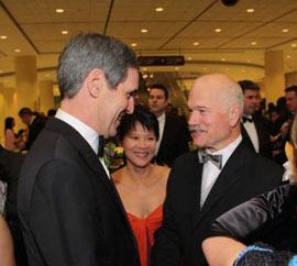 Michael Ignatieff and Jack Layton (and Olivia Chow) at the 2009 Dragon Ball in Toronto.