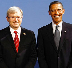 President Obama with Australian Prime Minister Kevin Rudd, somewhere in Pittsburgh. (Mcnamee/Pool/EPA).