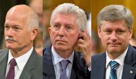 New three amigos. Whatever else, they make the current Conservative TV ads about Michael Ignatieff and his evil coalition with the NDP and the BQ seem ... well, what is the right word anyway?