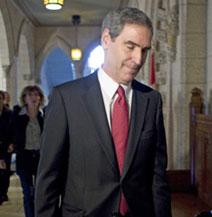 """Liberal Leader Michael Ignatieff returns to the House of Commons after speaking to reporters in the wake of the minority Conservative government's budget motion passing with the support of the NDP and Bloc Quebecois on Sept. 18, 2009."" (Our thanks here and above to the Globe and Mail.)"