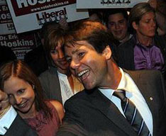 Liberal Dr. Eric Hoskins arrives at his post-election victory party. Vince Talotta/Toronto Star.