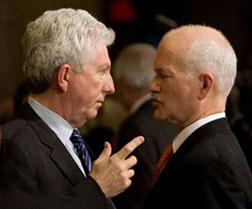 Separatists and socialists in charge at last? Bloc Québécois Leader Gilles Duceppe, left, talks with New Democratic Party Leader Jack Layton in the foyer of the Canadian House of Commons January 27, 2009.  (Sean Kilpatrick/Canadian Press).