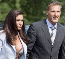 Ex-Foreign Affairs minister Maxime Bernier arrives at Rideau Hall on Aug 14, 2007, with his then-girlfriend, Julie Couillard. Bernier lost his cabinet post when it was reported that he left sensitive NATO documents at Couillard's home. A recent 2009 report in the Montreal newspaper Le Devoir says the documents contained 560 pages full of sensitive information stamped 'Secret.' This won't help Conservative prospects in Quebec. (PAUL CHIASSON / CP).