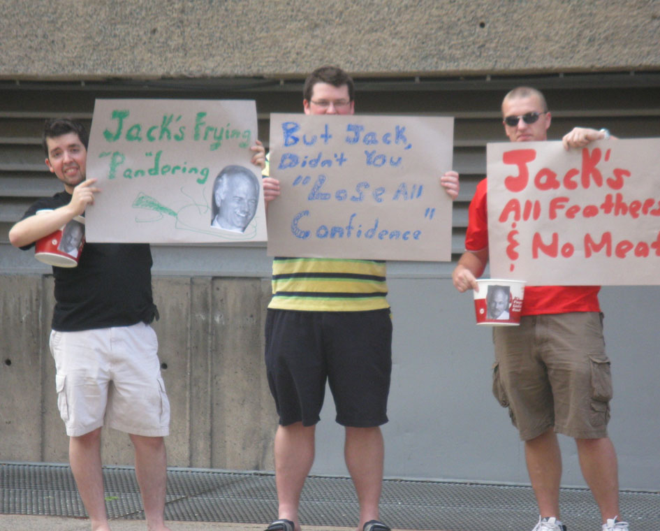 "From Liberal strategist Warren Kinsella's website, September 3, 2009: ""Concerned young Haligonians express their unhappiness with Jack 'Let's Make A Deal' Layton."""