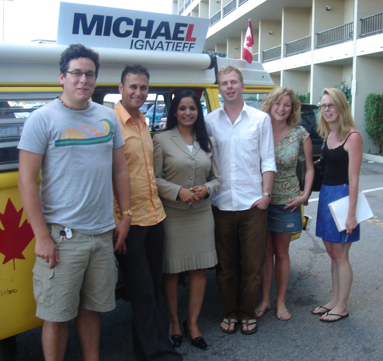 Liberal MP for Brampton Springdale, Ruby Dhalla (centre), with Michael Ignatieff supporters in Kelowna, BC.