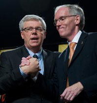 Greg Selinger (left) with Steve Ashton after the ballots were counted at Saturday's leadership convention. Selinger won with nearly 66% of the ballots cast. (David Lipnowski / Winnipeg Free Press).