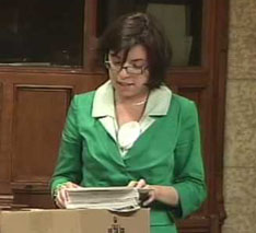 Niki Ashton, daughter of Steve Ashton and federal NDP MP for the northern Manitoba riding of Churchill, in Canadian House of Commons, June 30, 2009.