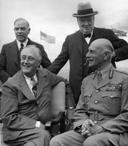 Winston Churchill (right) and Canadian PM William Lyon Mackenzie King (left) stand behind US President Franklin Roosevelt and Canada's Governor General, the Earl of Athlone (at a time when Canadian governor generals were still British aristocrats, and not Canadian politicians or media personalities), at the Quebec Conference, August 18, 1943.