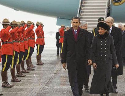 President Barack Obama is welcomed to Canada by Governor General Michaëlle Jean and a contingent of Royal Canadian Mounted Police, February 19, 2009.