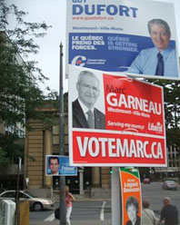 Conservative, Liberal, NDP, and BQ signs in the Westmount—Ville-Marie by-election, originally scheduled for September 8, 2008 — but finally pre-empted  by the October 14, 2008 general election, called on September 7.