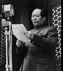 Mao Zedong declares the founding of the People's Republic of China in Beijing's Tiananmen Square, October 1, 1949.