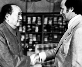 Liberal prime minister Pierre Trudeau meets Mao Zedong, China's ultimate leader, in October 1973 during China's historic opening to the West.