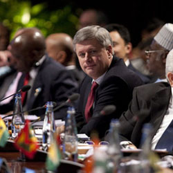 Prime Minister Stephen Harper takes part in a special session on climate change at the Commonwealth summit in Trinidad and Tobago on Nov. 27, 2009. Sean Kilpatrick/The Canadian Press.