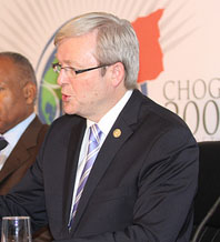 Australian Prime Minister Kevin Rudd at the 2009 Commonwealth summit. A proponent of doing something about climate change, he is also a self-declared republican who has promised to do something about the obsolete British monarchy in Australia, at some point in the not too distant future (assuming he is still Prime Minister of Australia then of course). Kenroy Ambris/Commonwealth Secretariat.