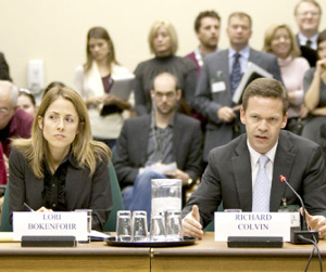Richard Colvin testifies as he sits beside lawyer Lori Bokenfohr at Canadian House of Commons special committee on Afghanistan. We have subsequently learned that Mr. Colvin and Ms. Bokenfohr have also had a romantic relationship in the past — which probably means nothing for his testimony on Afghanistan, but is at least interesting.