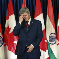 Prime Minister Stephen Harper was busy in India while Richard Colvin was testifying on torture in Afghanistan in Ottawa. Tom Flanagan apparently thinks Mr. Harper's leadership was missed by his cabinet and caucus.