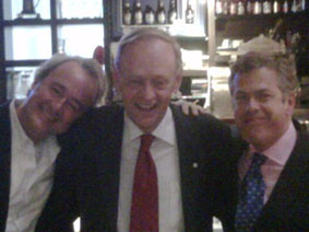 L to r: Warren Kinsella, Jean Chrétien, and Peter Donolo, at the Freedom at Depth event at Labatt House, Toronto, April 2009.