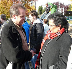 New Democrat Michael Byers and Liberal Hedy Fry exchange some guarded pleasantries in Vancouver Centre during the 2008 election campaign.