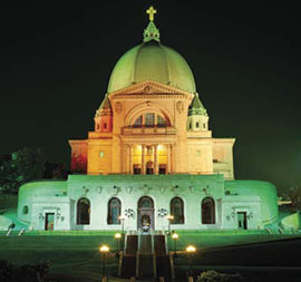 St. Joseph's Oratory in Montreal, illuminated at night.