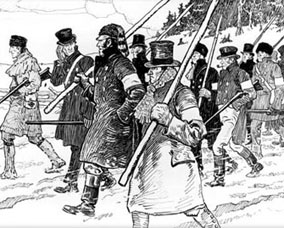 C.W. Jefferys' famous enough sketch of the December 5 march down Yonge Street  in the Upper Canadian Rebellion of 1837. Not for the last time angry people would try to attack the provincial capital in Toronto.