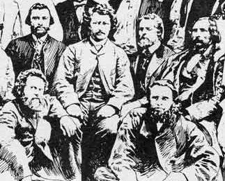 Louis Riel and associates in Red River Settlement, 1870. C. W. Jefferys.