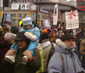 "Some demonstrators in Toronto were so young they could not even spell ""prorogue."" Photo WMW."