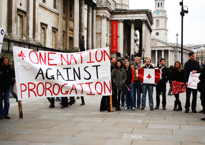 Early Saturday [January 23], the first rally of the day against Prime Minister Stephen Harper's prorogation of Parliament got started an ocean away from Ottawa amid the opulent art galleries and bizarre street performers of London's Trafalgar Square.