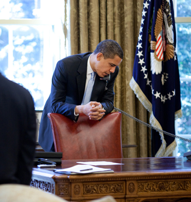 President Obama, at work in the Oval Office at the White House, Washington, DC, 2009.
