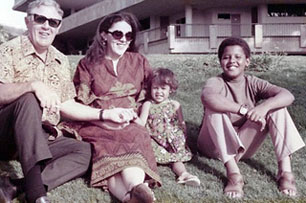 Barack Obama and half-sister Maya Soetoro, with their mother Ann Dunham and grandfather Stanley Dunham, in the future president's Hawaiian birthplace, early 1970s — just as Saul Alinsky was fading from a turbulent America.