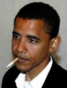 This may be a real photo of Barack Obama indulging in the unhealthy habit of smoking, in his Alinsky-style community organizing days. Or it could be something that someone has doctored with Photoshop, etc. In our age of high technology who really knows anything for certain anymore?