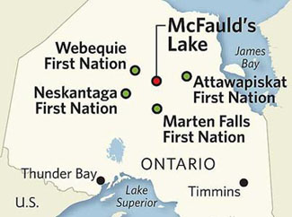 The Ring of Fire is an area of approximately 5,120 square kilometres around McFauld's Lake. TORONTO STAR GRAPHIC.