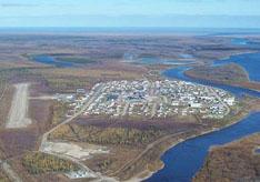Attawapiskat First Nation from the air.