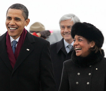 "President Obama walks on tarmac with Governor General Jean, on arriving in Ottawa  for ""first official foreign trip"" since taking office, February 19, 2009."