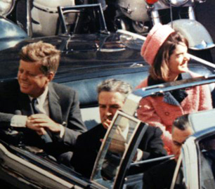 President Kennedy (left), Texas Governor John Connally, and Jacqueline Kennedy, minutes before the president was shot, Friday, November 22, 1963, in Dallas, Texas. Dallas Morning News/KERA-TV.