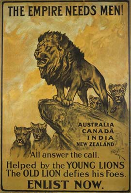 This UK Parliamentary Recruiting Committee poster urges men from the Dominions of the British Empire (and the South Asian Raj) to enlist for service in the First World War, 1914–1918.
