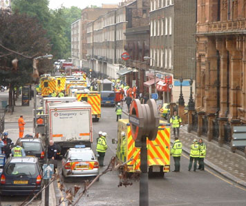 Emergency vehicles at Russell Square in London, just after the 7 July 2005 suicide bombings on the public transit system, that killed 52 people and injured about 700 more.