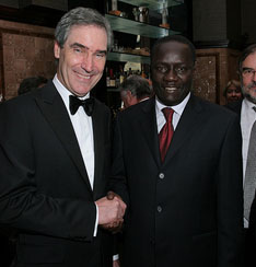 Michael Ignatieff (l) and Dr. Lamine Ba, President of the Africa Liberal Network and Vice President of Liberal International, at the 2009 Isaiah Berlin Lecture in London.