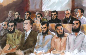 Artists's impression of the 12 Melbourne men accused of being members of a terrorist organisation in court, August 2008.  Illustration: Anne Spudvilas.