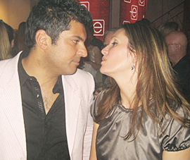 Helena Guergis and her (then) fiancée, Rahim Jaffer, at the MuchMusic Video Awards, Toronto, July 16, 2008. They were married October 15, 2008.