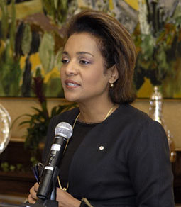 Her Excellency the Right Honourable Michaëlle Jean, Governor General of Canada, speaks during the Art Matters forum on March 28, 2008, at Rideau Hall in Ottawa.