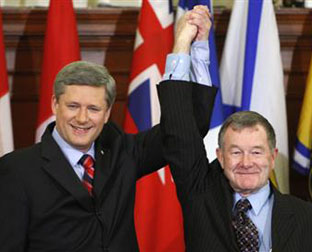 Stephen Harper and Bert Brown, the one elected senator he has managed to appoint, chosen by the voters at an Alberta provincial election.
