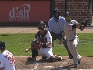 Bautista at the plate, as he hits his April 11 two-run homer in Baltimore.