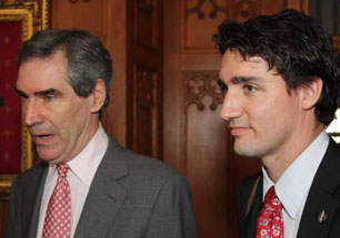 "Michael Ignatieff with Justin Trudeau, April 2009 — from ""Iggy's Coronation Countdown,"" Macleans.ca."