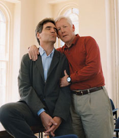 Michael Ignatieff and Bob Rae, former University of Toronto roommates turned  parliamentary rivals, ham it up at their alma mater in 2002. Image credit: Susan King.