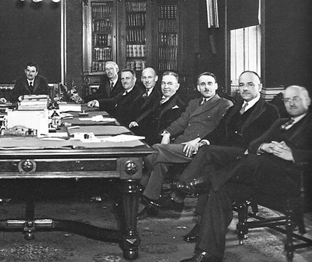 Jack's grandfather, Gilbert Layton (far right), as minister without portfolio in first Quebec cabinet of Maurice Duplessis (far left).