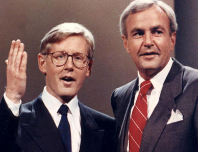 """Bob Rae (l) and David Peterson prepare for an election debate in August 1990. Not too long before, their 1985 Liberal-NDP Accord ended 42 years of — albeit rather """"Red"""" — Tory domination in Ontario provincial politics, even though Frank Miller's Progressive Conservatives still had the single largest number of seats in the legislature at Queen's Park. Hans Deryk / The Canadian Press."""